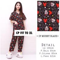 piyama mickey black cp pajamas katun jepang baju tidur wanita