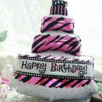 Cake HBD Tingkat Ungu 90cm
