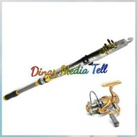 Paket Joran Pancing Laut Carbon Fiber Dan Reel 10 Bearing OP236 New