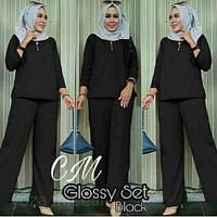 Glossy set black/baju setelan atas bawah tanpa kerudung/fashion wanita