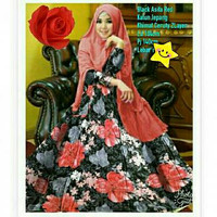 ASIFA SYARI BLACK RED/baju gamis plus kerudung/bahan katun jepang