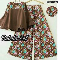 Set rubela brown/baju setelan atas bawah/fashion wanita