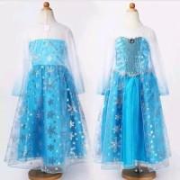 Baju Gaun Anak Dress Kostum Frozen Elsa Import Quality Diskon