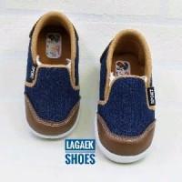 Sepatu Anak Slip On Slop Jeans Navy Kombi Brown Usia 1- Diskon