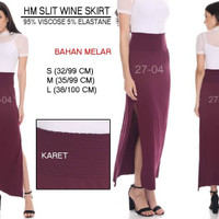 Rok brandred-HM SLIT WINE SKIRT