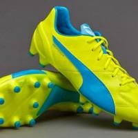Sepatu Bola PUMA original evoSPEED 1.4 Leather FG Yellow 10361503