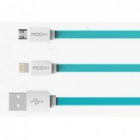 Rock Smart Safe 2 in 1 Charging Cable Lightning & Micro USB - White/Bl