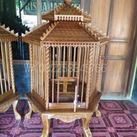 FREE ONGKIR Kurungan Kandang Ayam/ Burung Hias Kayu Jati Ukir Jepara