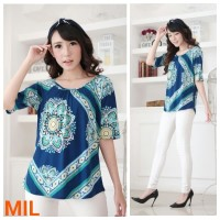Baju Branded BomFash- Blouse Lengan Pendek - Atasan Wanita Warna Biru