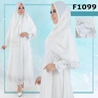 Gamis jubah abaya syari putih bahan sifon Limited