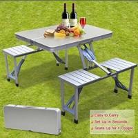 Meja Kursi Piknik Foldable Portable Aluminium. TERLARIS
