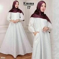 Maxi Emma 17 Putih Baju Muslim Wanita Gamis Model Kekinian Terbaru