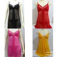 Baju tidur transparan lingerie renda pita sexy g-string wanita L8033