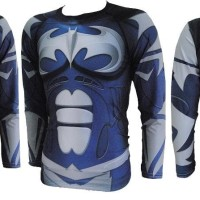 KAOS BAJU BATMAN BLUE SUPERHERO GYM FITNESS LONG SLEEVE Berkualitas