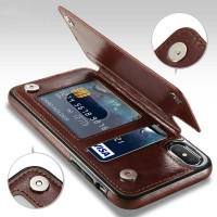 Leather Smartphone Case with Mini Wallet for iPhone X - Coklat