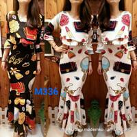 maxi dress duyung girl stuff m336 motif tas cermin lipstik fit to XL