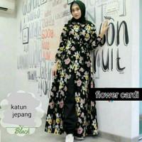Baju gamis motif bunga /gamis katun jepang /gamis Muslimah