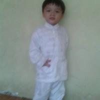 baju koko stelan putih anak 2 dan 3 tahun