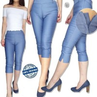 Celana Branded Murah attention Cobalt Blue Cotton Skinny Capri Pants