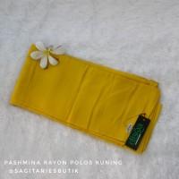 Pashmina Rayon Polos Kuning Murah