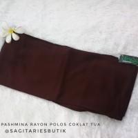Pashmina Rayon Polos Coklat Tua Murah