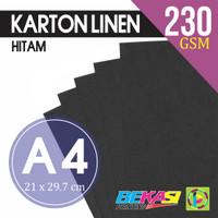 Kertas Karton Linen Hitam A4 size (Black Linen Paper)