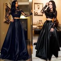 Gaun Pesta Black Dress Hitam Malam Prom Cocktail Baju Party Kostum Max