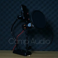 Mic SF 666 + stand meja + pop filter + holder hp + Splitter audio .