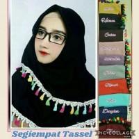 new baju muslim wanita jilbab segi empat square renda tasel