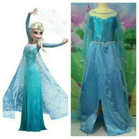 Gamis anak perempuan dress pesta kostum elsa frozen