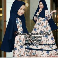 Baju Muslim Gamis Anak / Setelan Hijab Eropa Syari Kids Navy