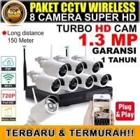 PAKET CCTV IP WIRELESS MURAH 1.3 MP KOMPLIT 8 CAM SIAP PAKAI TERBARU