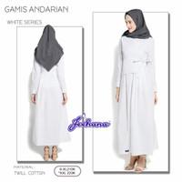 Baju Muslim Lebaran Syari Gamis Putih Dewasa Ibu Busui Katun
