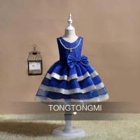 Anak Perempuan (Girl) Dress Gaun Baju Pesta Biru Kalung 4391 BABRD