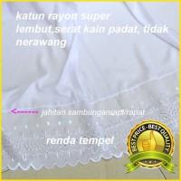 Mukenah MURAH Mukena Jumbo Putih Polos Renda Tempel Bahan Rayon Super
