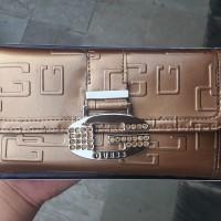 Dompet Wanita Perempuan Guess Asli Original Emas Gold Brown Cokelat