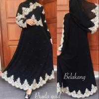 abaya hitam dress gamis arab renda prada gold incl pasmina