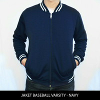 Jual JAKET MURAH !! Jaket Baseball Varsity Polos - Biru Navy Murah