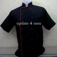 BAJU PRIA CH004 Baju Koki / Baju Chef Short Sleeves Black