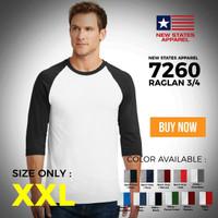 Kaos polos new states apparel 7260 Raglan 3/4 XXL Original Murah