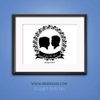 Desain Foto Siluet Couple Untuk Pajangan/Hadiah FREEE BINGKAI!!