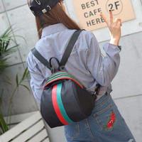 Promo tas ransel punggung gemblok cewek backpack wanita hitam garis b