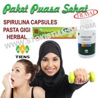 Paket Puasa Sehat Hemat Tiens | Spirulina Capsules Dan Pasta Gigi
