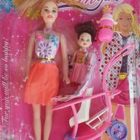 Mainan Barbie dilengkapi Stroler dan Asesoris