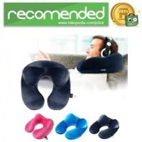 Bantal Leher U-Shape Inflatable Travel Neck Pillow - Biru Tua