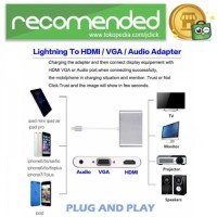 Adapter Converter Lightning to HDMI VGA with Audio Port - Silver