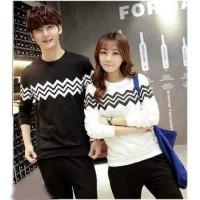 Baju Couple Lengan Panjang / Kaos pasangan ZigZag Kombinasi 11070