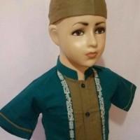 Baju Muslim Anak Setelan Koko Anak Laki Lengan Pendek Bordir SAK 061