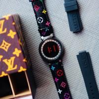 Jam Tangan Pria Wanita LV Louis Vuitton Digital Tali Kulit