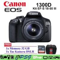 Canon EOS 1300D kit 18-55mm III Kamera DSLR Free Memory Asli